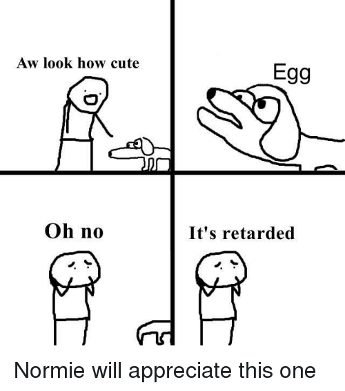 Cute, Reddit, and Retarded: Aw look how cute  Egg  Oh no  It's retarded