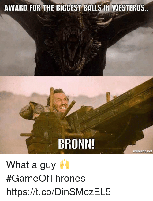 Westeros, Gameofthrones, and Net: AWARD FOR THE BIGGEST BALLS IN WESTEROS  BRONN  mematic.net What a guy 🙌 #GameOfThrones https://t.co/DinSMczEL5
