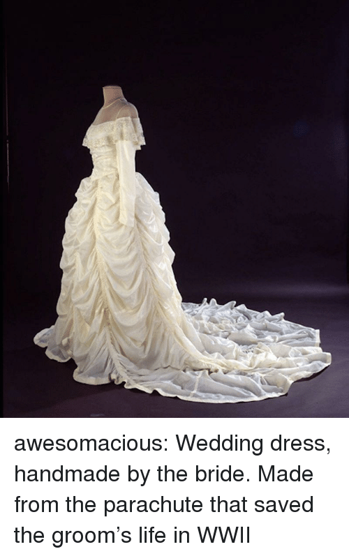 Life, Tumblr, and Blog: awesomacious:  Wedding dress, handmade by the bride. Made from the parachute that saved the groom's life in WWII