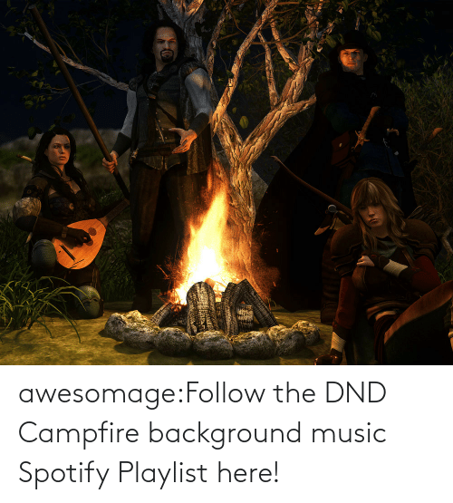 Music, Tumblr, and Spotify: awesomage:Follow the DND Campfire background music Spotify Playlist here!