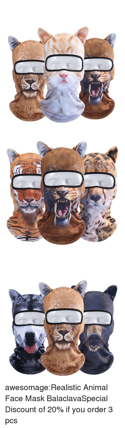 Tumblr, Animal, and Blog: awesomage:Realistic Animal Face Mask BalaclavaSpecial Discount of 20% if you order 3 pcs