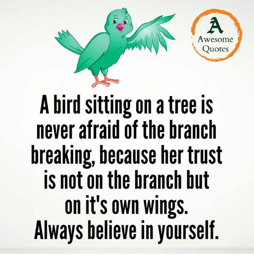 Awesome Quotes A Bird Sitting On A Tree Is Never Afraid Of