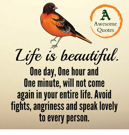 Awesome Quotes E Is Beautifial One Day One Hour And One Minute Will Custom Love Awsome