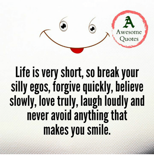Awesome Quotes About Life Cool Awesome Quotes Life Very Short SO Break Your Silly Egos Forgive