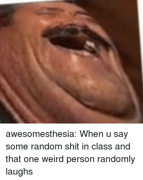 Shit, Tumblr, and Weird: awesomesthesia:  When u say some random shit in class and that one weird person randomly laughs