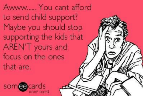 Child Support, Memes, and Focus: Awww...... You cant afford  to send child support?  Maybe you should stop  supporting the kids that  ARENT yours and  N  focus on the ones  that are  somee cards  user card