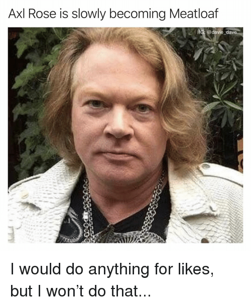 Axl Rose Is Slowly Becoming Meatloaf IG Dav I Would Do