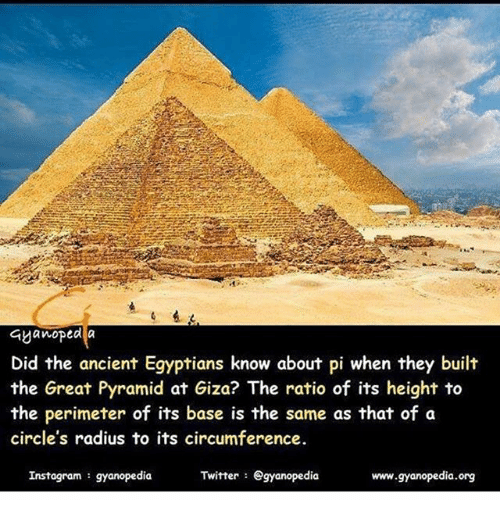 Ayanoped a Did the Ancient Egyptians Know About Pi When They Built the  Great Pyramid at Giza? The Ratio of Its Height to the Perimeter of Its Base  Is the Same as
