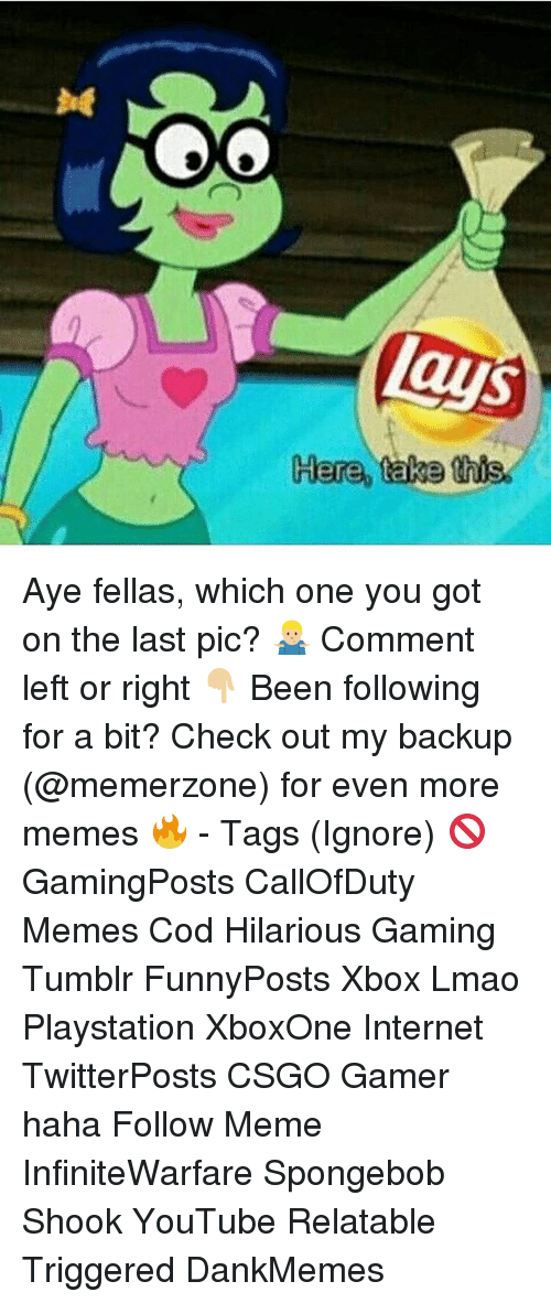 Internet, Lmao, and Meme: Aye fellas, which one you got on the last pic? 🤷🏼‍♂️ Comment left or right 👇🏼 Been following for a bit? Check out my backup (@memerzone) for even more memes 🔥 - Tags (Ignore) 🚫 GamingPosts CallOfDuty Memes Cod Hilarious Gaming Tumblr FunnyPosts Xbox Lmao Playstation XboxOne Internet TwitterPosts CSGO Gamer haha Follow Meme InfiniteWarfare Spongebob Shook YouTube Relatable Triggered DankMemes