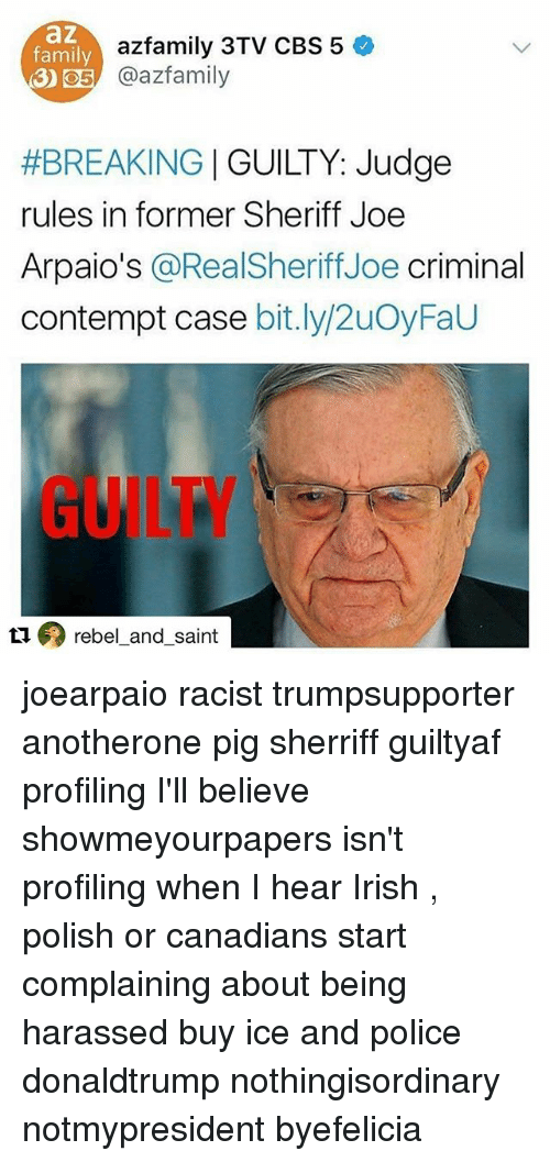 Another One, Family, and Irish: az  family  azfamily 3TV CBS 5  O5 azfamily  #BREAKING | GUILTY: Judge  rules in former Sheriff Joe  Arpaio's @RealSheriffJoe criminal  contempt case bit.ly/2uOyFaU  GUILTY  ロのrebel-and-saint joearpaio racist trumpsupporter anotherone pig sherriff guiltyaf profiling I'll believe showmeyourpapers isn't profiling when I hear Irish , polish or canadians start complaining about being harassed buy ice and police donaldtrump nothingisordinary notmypresident byefelicia