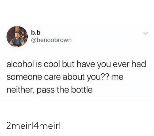Alcohol, Cool, and B. B.: b.b  @benoobrown  alcohol is cool but have you ever had  someone care about you?? me  neither, pass the bottle 2meirl4meirl