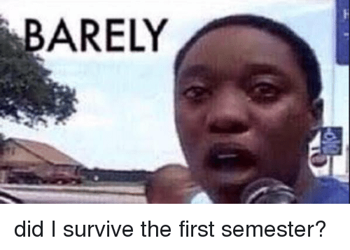 B Barely Did I Survive The First Semester Funny Meme On Meme