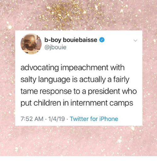 Children, Iphone, and Being Salty: b-boy bouiebaisse  @jbouie  advocating impeachment witlh  salty language is actually a fairly  tame response to a president who  put children in internment camps  7:52 AM 1/4/19 Twitter for iPhone