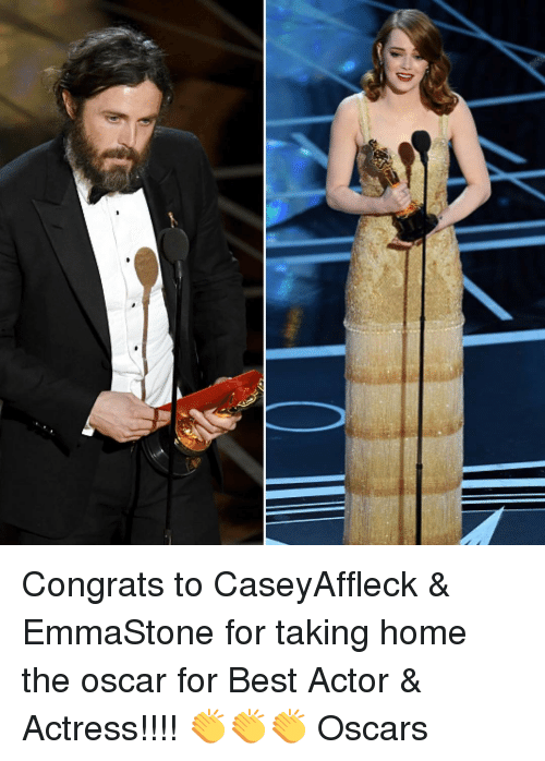 Memes, Oscars, and Best Actor: (b iD Congrats to CaseyAffleck & EmmaStone for taking home the oscar for Best Actor & Actress!!!! 👏👏👏 Oscars