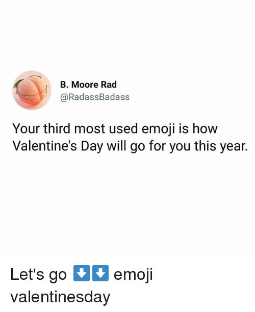 Emoji, Memes, and Valentine's Day: B. Moore Rad  @RadassBadass  Your third most used emoji is how  Valentine's Day will go for you this year. Let's go ⬇⬇ emoji valentinesday