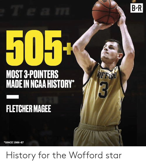 History, Ncaa, and Star: B R  505  MOST 3-POINTERS  MADE IN NCAA HISTORY  FFo  FLETCHER MAGEE  SINCE 1986-87 History for the Wofford star