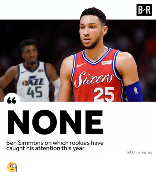 This, Ail, and Attention: B R  AIL  45  NONE  Simmons on which rookies have  caught his attention this year  h/t Chris Haynes 🧐