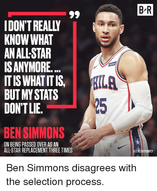 All Star, Star, and Keith: B R  IDON'T REALLY  KNOW WHAT  AN ALL-STAR  ISANYMORE.  ITIS WHAT ITIS  BUT MY STATS  DONTLIE.  【ILA  25  BEN SIMMONS  ON BEING PASSED OVER AS AN  ALL-STAR REPLACEMENT THREE TIMES  T KEITH POMPEY Ben Simmons disagrees with the selection process.
