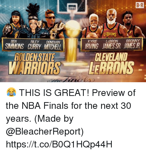 Finals, Memes, and Nba: B R  LEBRONS  KYRIE LEBRONBRONY  IRVING JAMESSR JAMESR  BEN  REEYDONOVAN  SIMMONS CURRY MITCHELL  CLEVELAND  GOLDENSTATE  WARRIORS ONS 😂 THIS IS GREAT!  Preview of the NBA Finals for the next 30 years.   (Made by @BleacherReport) https://t.co/B0Q1HQp44H