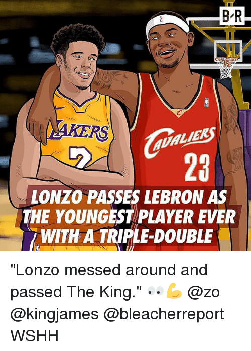 "Memes, Wshh, and Lebron: B-R  RS  LIE  MEK  23  LONZO PASSES LEBRON AS  THE YOUNGEST PLAYER EVER  WITH A TRIPLE-DOUBLE ""Lonzo messed around and passed The King."" 👀💪 @zo @kingjames @bleacherreport WSHH"