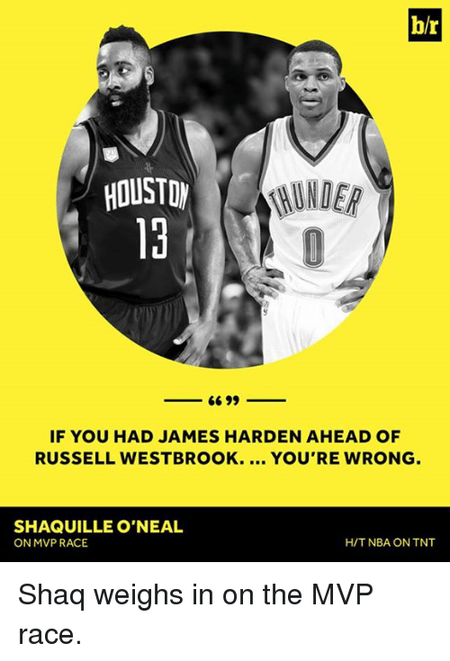 James Harden, Nba, and Russell Westbrook: b/r  RUNDER  HOUSTON  6699  IF YOU HAD JAMES HARDEN AHEAD OF  RUSSELL WESTBROOK.  YOU'RE WRONG  SHAQUILLE O'NEAL  ON MVP RACE  H/T NBA ON TNT Shaq weighs in on the MVP race.