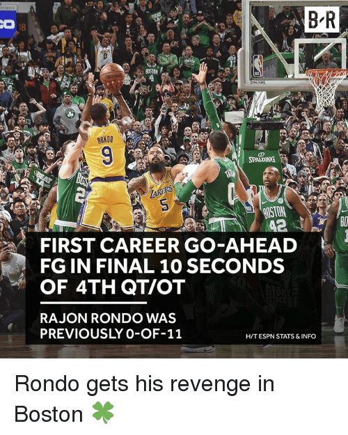 Espn, Rajon Rondo, and Revenge: B R  RUNDO  ROSTON  FIRST CAREER GO-AHEAD  FG IN FINAL 10 SECONDS  OF 4TH QT/OT  RAJON RONDO WAS  PREVIOUSLY 0-OF-11  H/T ESPN STATS &INFO Rondo gets his revenge in Boston 🍀