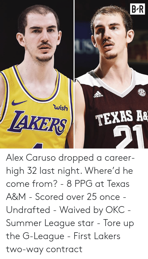 Los Angeles Lakers, Summer, and Star: B R  wish  IAKERS  TEXAS A& Alex Caruso dropped a career-high 32 last night. Where'd he come from?  - 8 PPG at Texas A&M - Scored over 25 once - Undrafted - Waived by OKC - Summer League star - Tore up the G-League - First Lakers two-way contract