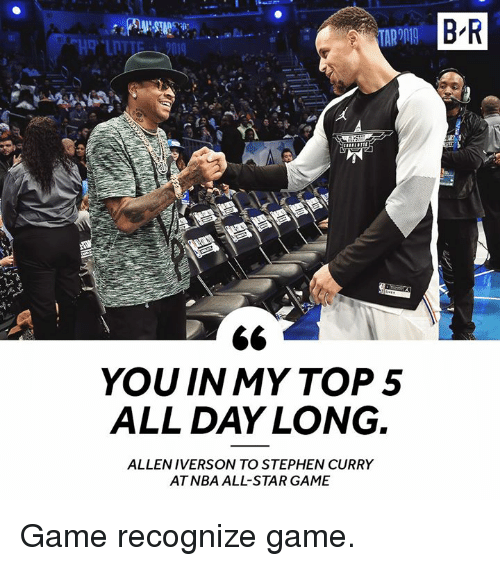 All Star, Nba, and NBA All-Star Game: B R  YOU IN MY TOP5  ALL DAY LONG.  ALLENIVERSON TO STEPHEN CURRY  AT NBA ALL-STAR GAME Game recognize game.