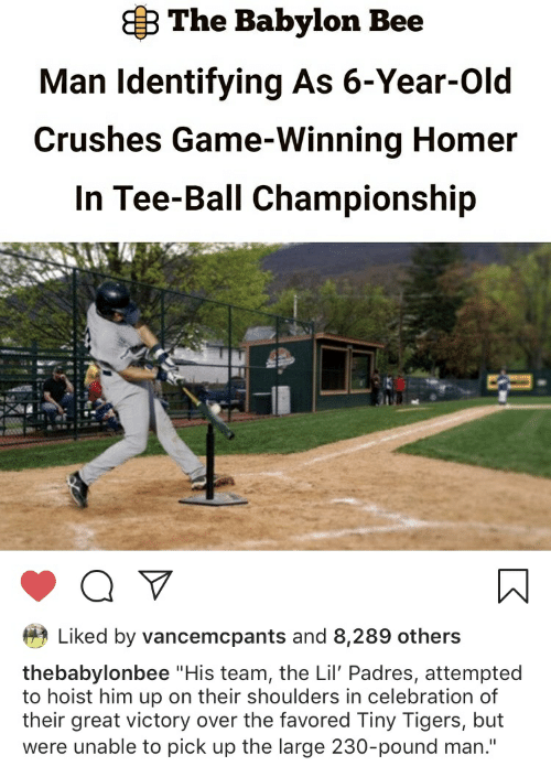 "Game, Tigers, and Babylon: B The Babylon Bee  Man Identifying As 6-Year-Old  Crushes Game-Winning Homer  In Tee-Ball Championship  Liked by vancemcpants and 8,289 others  thebabylonbee ""His team, the Lil' Padres, attempted  to hoist him up on their shoulders in celebration of  their great victory over the favored Tiny Tigers, but  were unable to pick up the large 230-pound man."""