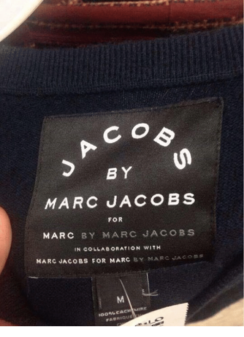 Anaconda, Dank, and Marc Jacobs: B Y  FOR  MARC BY MARC JACOBS  MARC JACOBS FOR MARC Y MARC JACOSS  100% CACHIMIE