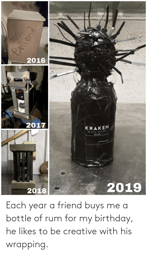 Birthday, Black, and Rum: BA17  2016  KRAK  2017  KRAKEN  BLACK SPICED  RUM  2019  2018  TOO,  Bellend Each year a friend buys me a bottle of rum for my birthday, he likes to be creative with his wrapping.