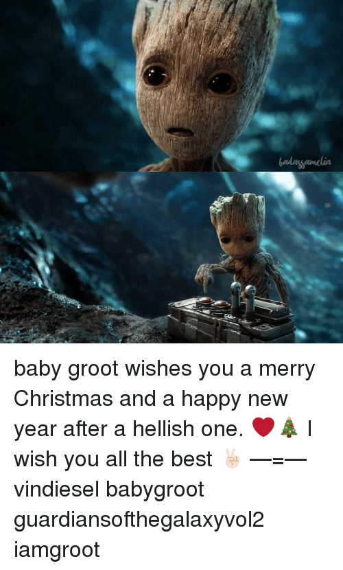 memes new years and baby groot wishes you a merry christmas and