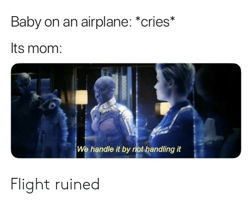 Airplane, Flight, and Mom: Baby on an airplane: *cries*  Its mom:  We handle it by not handling it Flight ruined