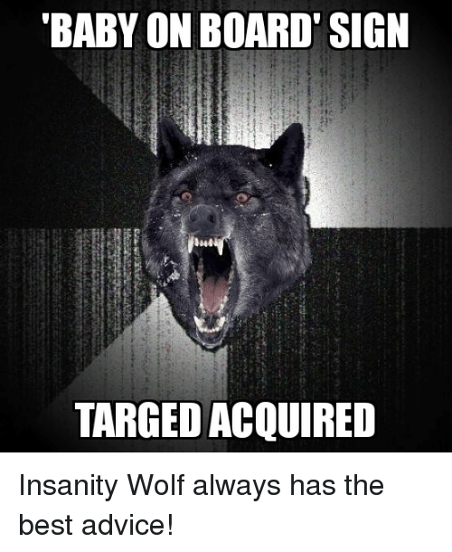 Advice, Best, and Wolf: BABY ON BOARD' SIGN  TARGED ACQUIRED