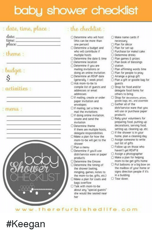 Baby Shower Checklist Date Time Place Date The Checklist O Determine