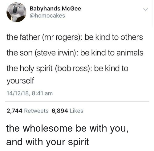 Animals, Steve Irwin, and Bob Ross: Babyhands McGee  @homocakes  the father (mr rogers): be kind to others  the son (steve irwin): be kind to animals  the holy spirit (bob ross): be kind to  yourself  14/12/18, 8:41 am  2,744 Retweets 6,894 Likes the wholesome be with you, and with your spirit