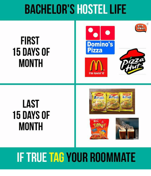Memes, Roommate, and Bachelor: BACHELOR'S  HOSTEL  LIFE  InDIAn  FIRST  Domino's  15 DAYS OF  Pizza  MONTH  I'm lovin' it  LAST  15 DAYS OF  MONTH  IF TRUE  TAG  YOUR ROOMMATE