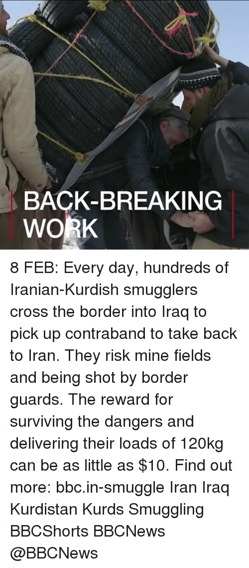 Memes, Kurdish, and Kurdish: BACK-BREAKING  WORK 8 FEB: Every day, hundreds of Iranian-Kurdish smugglers cross the border into Iraq to pick up contraband to take back to Iran. They risk mine fields and being shot by border guards. The reward for surviving the dangers and delivering their loads of 120kg can be as little as $10. Find out more: bbc.in-smuggle Iran Iraq Kurdistan Kurds Smuggling BBCShorts BBCNews @BBCNews