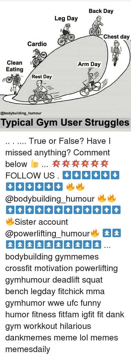 Dank, Funny, and Gym: Back Day  Leg Day  Chest day  Cardio  Clean  Arm Day  Eating  Rest Day  @bodybuilding humour  Typical Gym User Struggles .. . .... True or False? Have I missed anything? Comment below 👍 ... 💥💥💥💥💥💥 FOLLOW US . ⬇️⬇️⬇️⬇️⬇️⬇️⬇️⬇️⬇️⬇️⬇️⬇️ 🔥🔥@bodybuilding_humour 🔥🔥 ⬆️⬆️⬆️⬆️⬆️⬆️⬆️⬆️⬆️⬆️⬆️⬆️ 🔥Sister account @powerlifting_humour🔥 ⏫⏫⏫⏫⏫⏫⏫⏫⏫⏫⏫⏫ ... bodybuilding gymmemes crossfit motivation powerlifting gymhumour deadlift squat bench legday fitchick mma gymhumor wwe ufc funny humor fitness fitfam igfit fit dank gym workkout hilarious dankmemes meme lol memes memesdaily