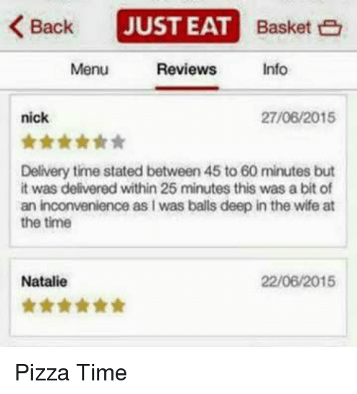 Funny Pizza And Inconvenience Back Just Eat Basket E Reviews Info Menu Nick