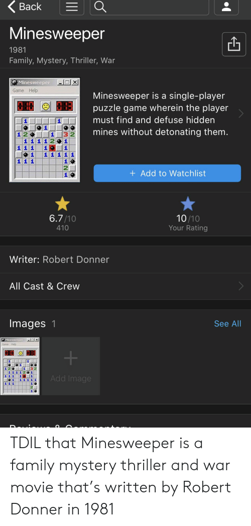 Back Minesweeper 1981 Family Mystery Thriller War