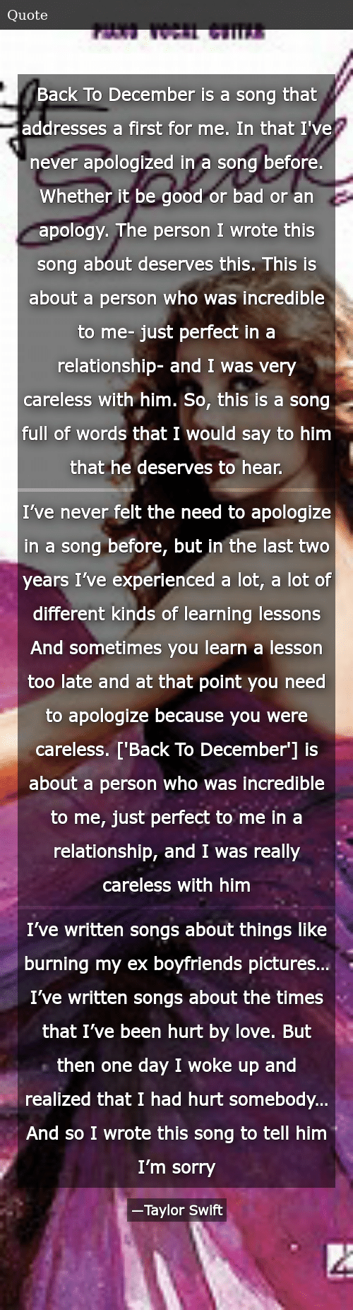 Back to December Is a Song That Addresses a First for Me in