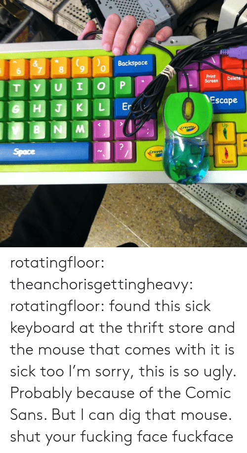 Sorry, Tumblr, and Ugly: Backspace  &  7  8  6  Print  Screen  Delete  P  I  U  y  T  Escape  Er  L  HJK  B NM  Crayola  ?  R  Space  Crayol  Down rotatingfloor:  theanchorisgettingheavy:  rotatingfloor:  found this sick keyboard at the thrift store and the mouse that comes with it is sick too  I'm sorry, this is so ugly. Probably because of the Comic Sans. But I can dig that mouse.  shut your fucking face fuckface