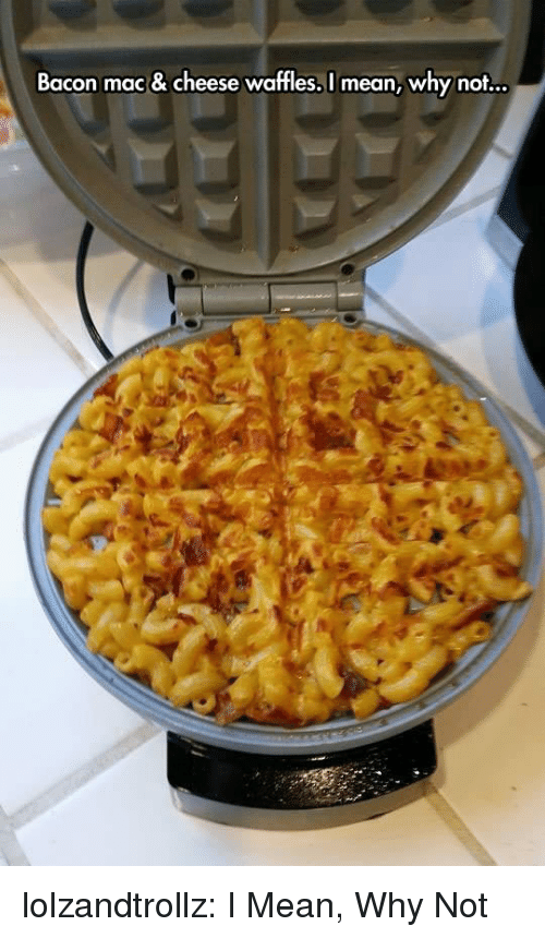 Tumblr, Blog, and Http: Bacon mac & cheese waffles, I mean, why not... lolzandtrollz:  I Mean, Why Not