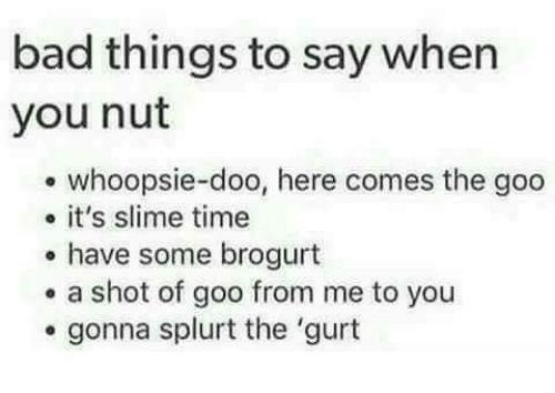 Bad, Time, and Slime: bad things to say when  you nut  whoopsie-doo, here comes the goo  o it's slime time  have some brogurt  a shot of goo from me to you  gonna splurt the 'gurt