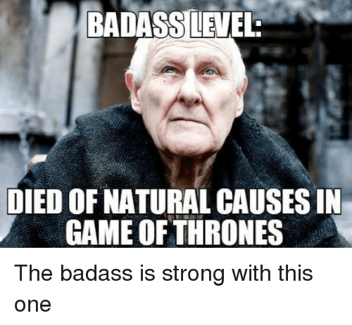 Game of Thrones, Game, and Badass: BADASS LEVEL  DIED OF NATURAL CAUSES IN  GAME OFTHRONES The badass is strong with this one