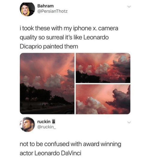 Confused, Iphone, and Leonardo DiCaprio: Bahram  @PersianThotz  i took these with my iphone x.camera  quality so surreal it's like Leonardo  Dicaprio painted them  ruckin  @ruckin_  not to be confused with award winning  actor Leonardo DaVinci