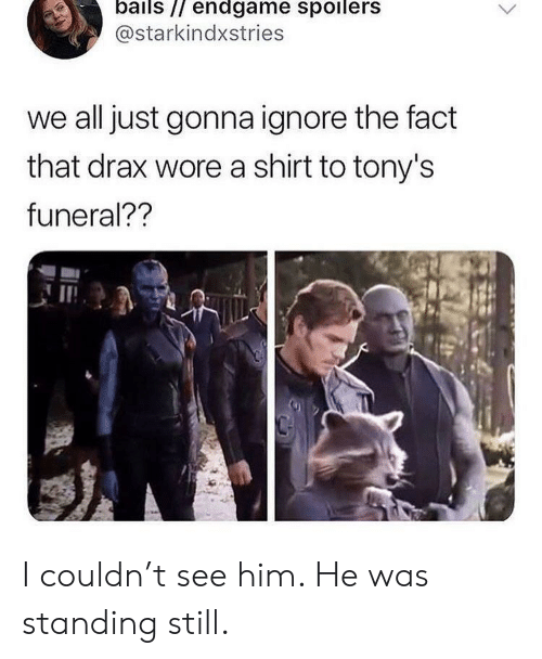 Him, Endgame, and All: bails // endgame spoilers  @starkindxstries  we all just gonna ignore the fact  that drax wore a shirt to tony's  funeral?? I couldn't see him. He was standing still.
