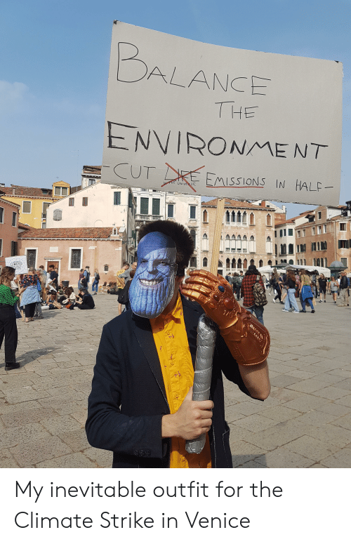 Cat, Venice, and Universe: BALANCE  THE  ENVIRONMENT  CUT  EMISSIONS IN HALF  NTHE UNIVERSE  IL CAMBIAMENTO  CLIMATICO  ATTO  OMINCIA NEL TUO  IT SQve T  STUETLE  ee  க  Cat My inevitable outfit for the Climate Strike in Venice