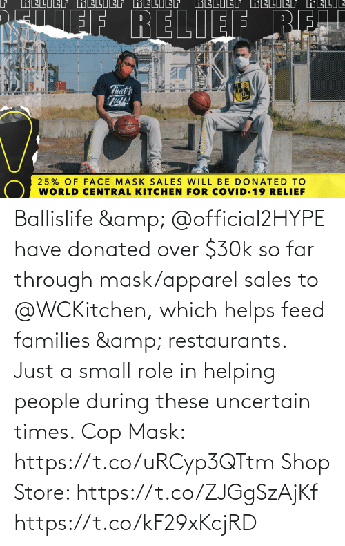 Memes, Restaurants, and Helps: Ballislife & @official2HYPE have donated over $30k so far through mask/apparel sales to @WCKitchen, which helps feed families & restaurants.   Just a small role in helping people during these uncertain times.  Cop Mask: https://t.co/uRCyp3QTtm  Shop Store: https://t.co/ZJGgSzAjKf https://t.co/kF29xKcjRD